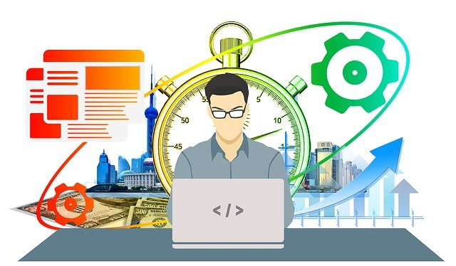Man working at a computer with various business symbols behind him.