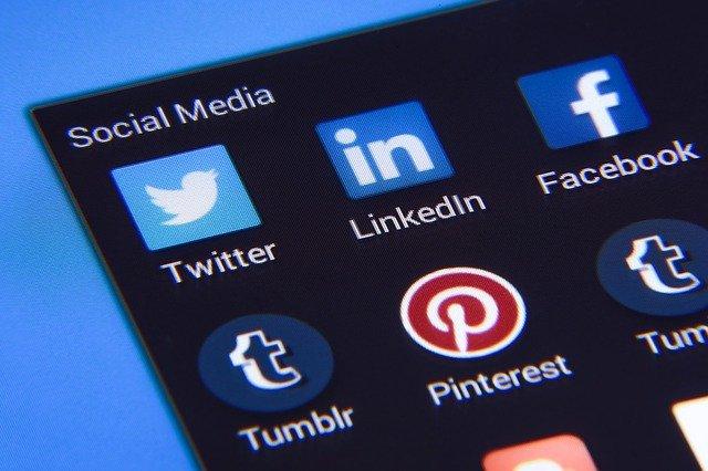Social media icons a phone screen.